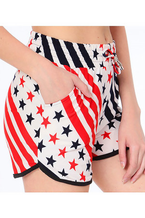 Wholesale Buttery Soft Twirling USA Flag Dolphin Shorts
