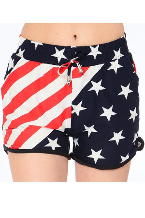 Wholesale Buttery Soft Swirling USA Flag Dolphin Shorts