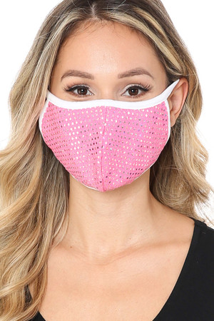 Pink Wholesale Circle Bling Sequin Fashion Face Mask - Made in USA