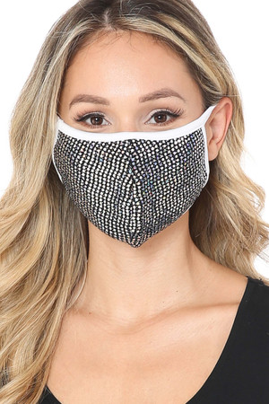 Black Wholesale Circle Bling Sequin Fashion Face Mask - Made in USA