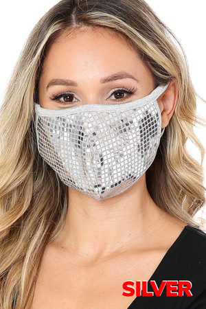 Silver Wholesale Square Bling Sequin Fashion Face Mask - Made in USA