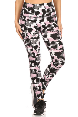 Wholesale Pink Camouflage Sport Workout Leggings