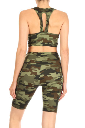 Wholesale High Waisted Camouflage Biker Shorts and Sport Bra Set