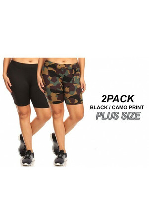 Wholesale Women's Plus Size Biker Shorts - Black and Green Camouflage- 2 Pack