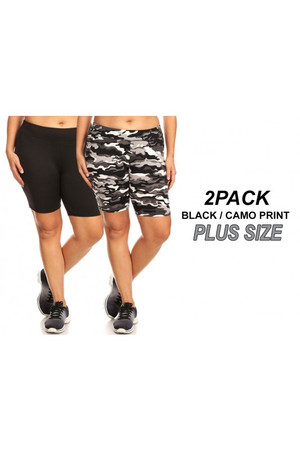 Wholesale Women's Plus Size Biker Shorts - Black and Charcoal Camouflage- 2 Pack