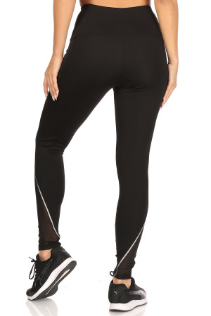 Wholesale Mesh Pocket Reflective High Waist Workout Leggings