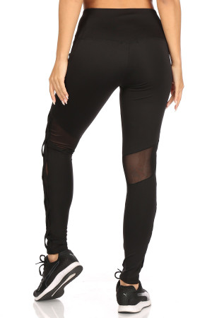 Wholesale Side Crisscross Mesh Sport Leggings