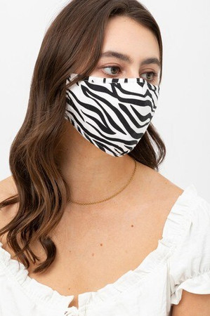 Wholesale Zebra Print Fashion Face Mask with Built In Filter and Nose Bar