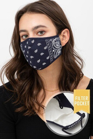 Wholesale Navy Bandana Fashion Face Mask with Built In Filter and Nose Bar