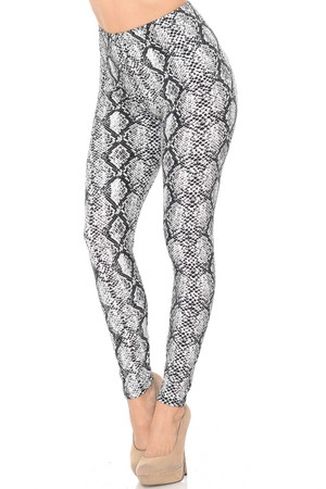 Wholesale Buttery Soft White Snakeskin Extra Plus Size Leggings - 3X-5X