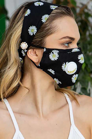 Wholesale 2 Piece Daisy Headband and Face Mask Set
