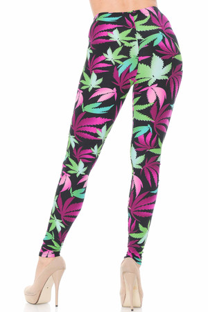 Wholesale Buttery Soft Fuchsia Marijuana Leggings