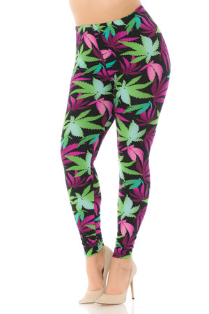 Wholesale Buttery Soft Fuchsia Marijuana Plus Size Leggings