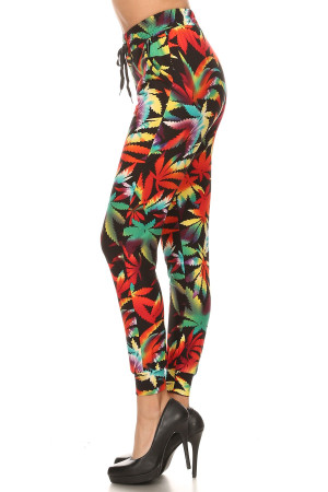 Wholesale Buttery Soft Rainbow Marijuana Joggers