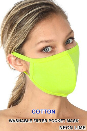 Wholesale Neon Lime Solid Cotton Face Mask - Imported