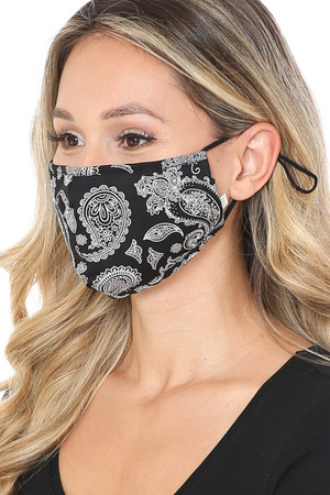 Wholesale Giant Black Paisley Bandana Fashion Face Mask with Built In Filter and Nose Bar