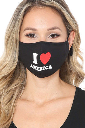 Front Wholesale I Love America Face Mask with Built In Filter and Nose Bar