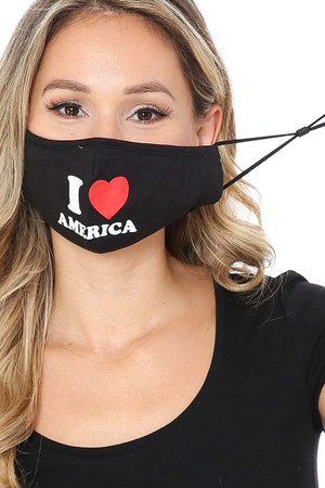 Ear Strings of Wholesale I Love America Face Mask with Built In Filter and Nose Bar