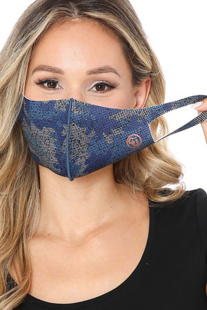 Wholesale Blue Copper Infused Camouflage Face Mask