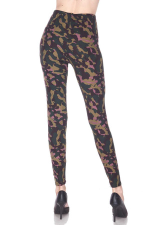 Wholesale Buttery Soft Midnight Pink Camouflage Plus Size Leggings