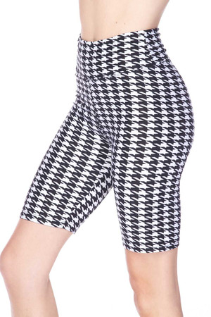 Wholesale Buttery Soft Houndstooth Biker Shorts - 3 Inch Waist Band