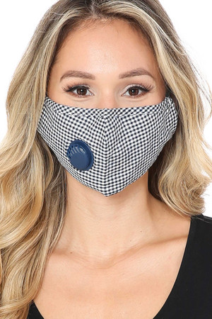 Navy Wholesale checkered Plaid Face Mask with Air Valve