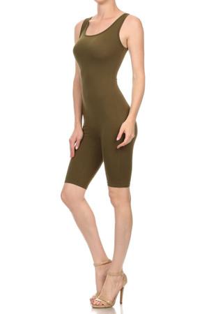 Wholesale Olive USA Basic Cotton Thigh High Jumpsuit