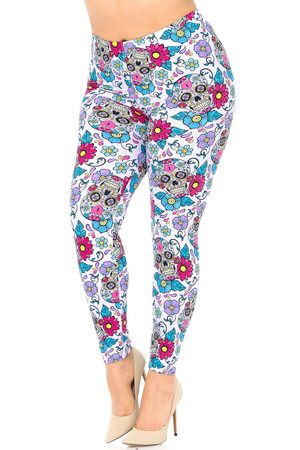Wholesale Buttery Soft Lavender Sugar Skull Plus Size Leggings