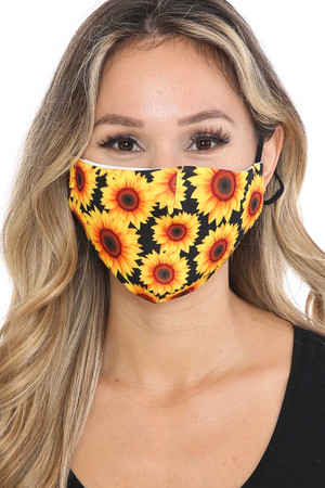 Wholesale Sunflower Graphic Print Face Mask