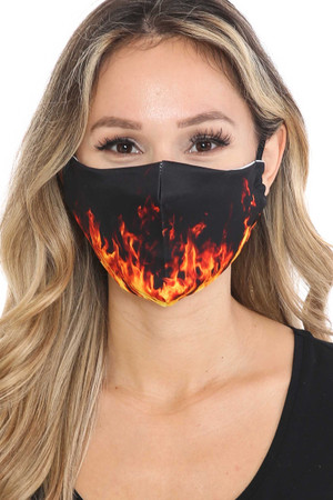 Wholesale Fire Graphic Print Face Mask