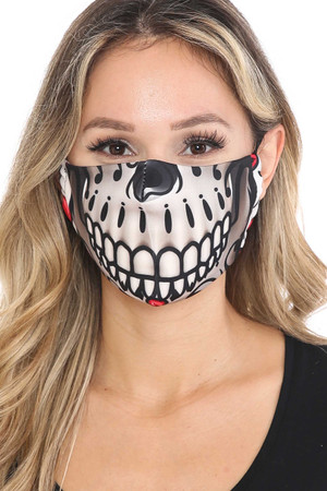 Wholesale Smiling-Sugar Skull Graphic Print Face Mask