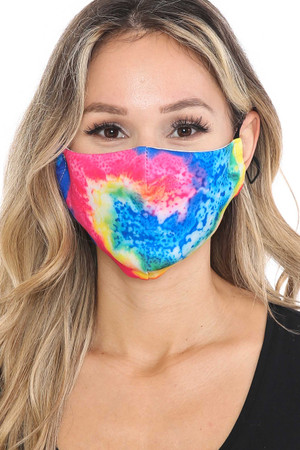 Wholesale Colorful Twisting Tie Dye Graphic Print Face Mask