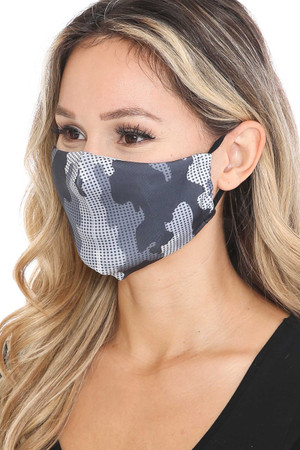 Wholesale Black and White Grid Camouflage Graphic Print Face Mask