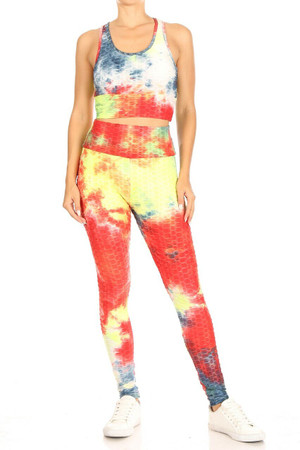 Wholesale Multi-Color Tie Dye Scrunch Butt Top and Leggings Set