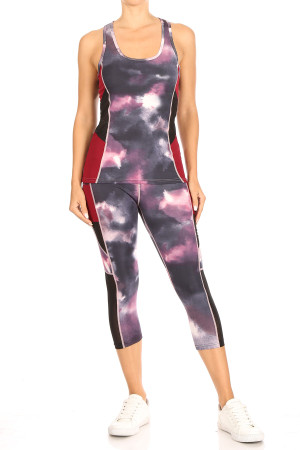 Wholesale Red Tie Dye Sport Mesh Top and Capri Set