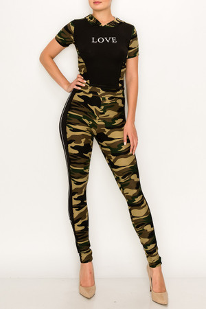 Wholesale Camouflage Sport Love Hoodie Top and Legging Set