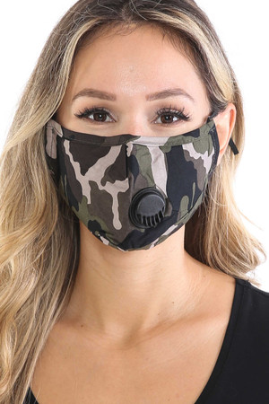 Wholesale Camouflage Air Valve Face Mask with Nose Bar
