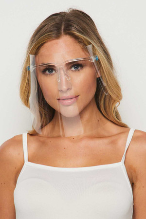 Wholesale 20 Pack - Detachable Full Transparent Face Shield - Clear Colored Support Glasses