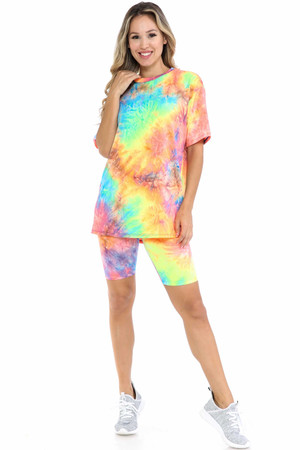 Wholesale Neon Tie Dye 2 Piece Shorts and T-Shirt Set