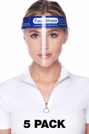 Wholesale Protective Face Shields - Anti Splash Film with Elastic Band and Comfort Sponge - 5 Pack