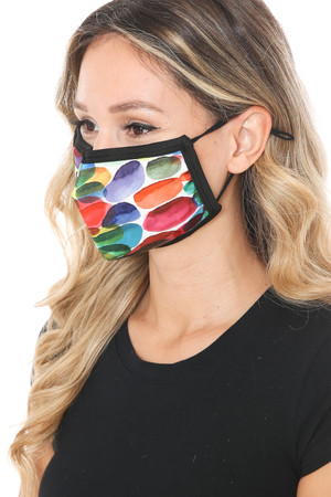 Wholesale Rainbow Watercolor Graphic Print Face Mask