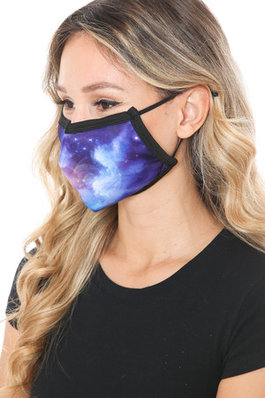 Wholesale Sapphire Galaxy Graphic Print Face Mask