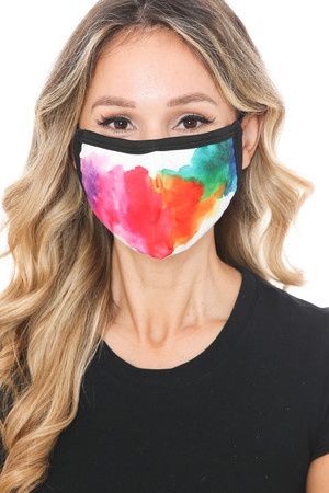 Wholesale Watercolor Splash Graphic Print Face Mask