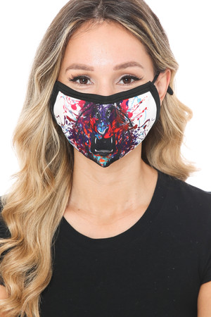 Wholesale Painted Lion Graphic Print Face Mask