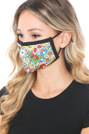 Wholesale Far Out Floral Graphic Print Face Mask