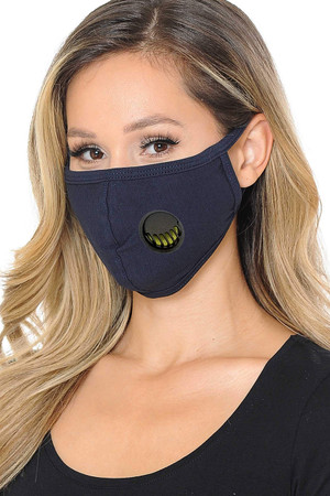 Wholesale Unisex Cotton Face Mask with Air Valve and PM2.5 Filter Pocket - Made in USA