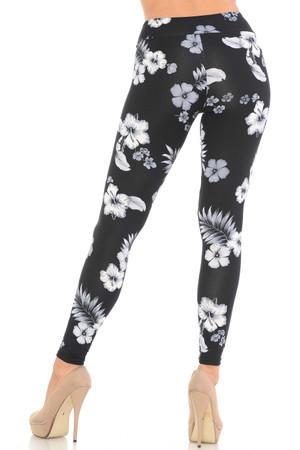 Wholesale Black Floral Brushed Sport Leggings