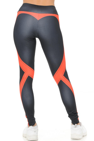 Coral Wholesale Contouring Banded Heart Workout Leggings