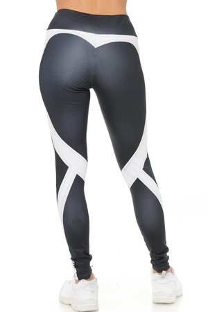 White Wholesale Contouring Banded Heart Workout Leggings