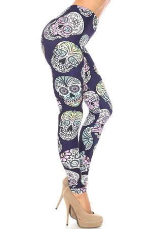 Wholesale Creamy Soft Indigo Jelly Bean Sugar Skull Plus Size Leggings - By USA Fashion™
